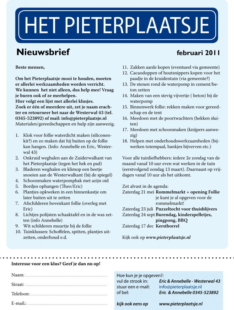 Nieuwsbrief 2011